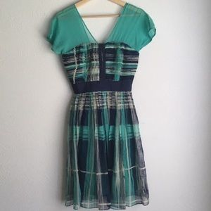 FROCK BY TRACY REESE SILK PLAID PRINT DRESS 2